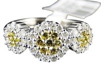 14k,Ladies,Womens,White,Gold,Yellow,Canary,Cluster,Round,Cut,Diamond,Ring,1,Ct