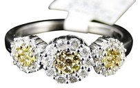 Other 14k,Ladies,Womens,White,Gold,Yellow,Canary,Cluster,Round,Cut,Diamond,Ring,12,Ct