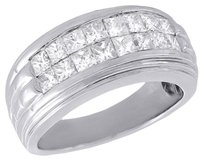 Diamond Wedding Band Mens 14k White Gold Princess Cut Invisible Set Ring Tcw.