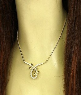 Jose Hess 14k Yellow Gold 3ctw Diamond Fancy Design Necklace