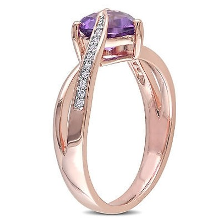 Other 10k Pink Gold Diamond And Amethyst-africa Heart Swivel Crossover Journey Ring