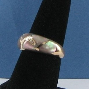 Kabana Bronze Mother Of Pearl Ring 0.02cts Diamonds 14k Rose 7.75