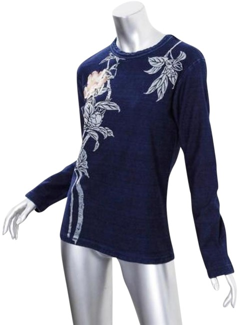 chic Koromo Womens Navy Blue Long Sleeve Embroidered Floral T-shirt Tee Top Sm #1874383 -
