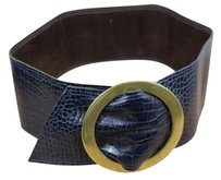 Other Kristin Kahle Womens Navy Animal Print Leather Belt Wide Width Brass Buckle