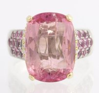 Other Kunzite Pink Sapphire Cocktail Ring-18k Yellow Gold Sterling Silver 21.40ctw
