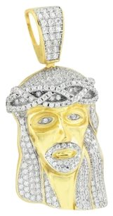 Other Lab Diamond Jesus Pendant Mens Iced Out Gold Finish Sterling Silver Christ Charm
