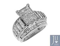 Ladies 10k White Gold Baguette Princess Cut Real Diamond Engagement Ring 2.0ct