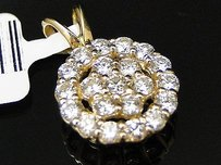 Ladies 14k Yellow Gold Flower Cluster Vs Diamond Charm Pendant 1.0 Ct