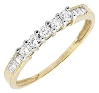Other Ladies 14k Yellow Gold Genuine Baguette Diamond Engagement Band Ring 0.29 Ct