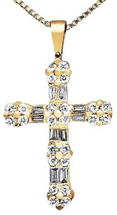 Ladies 14k Yellow Gold Round Baguette Cut Diamond Flower Cross Pendant 0.50ct