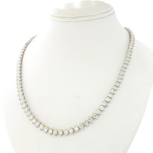 Ladies 18k Solid White Gold 10.00ct G SI1 Diamond Graduated Tennis Necklace