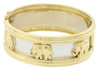 Ladies 18k Solid Yellow & White Gold Elephant Diamond Wide Bangle Bracelet 83.9g