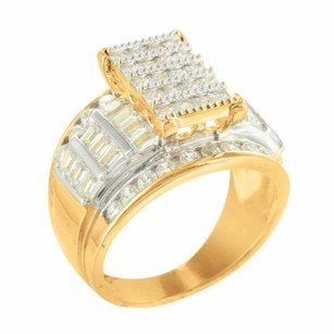 Ladies Baguette Princess Cut Lab Diamond Yellow Gold Finish Engagement Ring