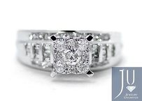 Ladies Round Cut Pave Diamond Engagement Ring In 10k White Gold 1.03 Ct