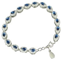 Ladies Simulated Sapphire Solitaire Tear Drop 14k White Gold Finish Bracelet