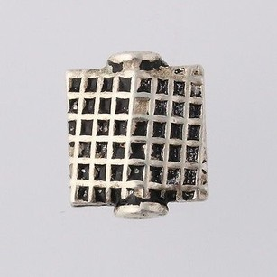 Lattice Work Square Bead Charm - Sterling Silver Jewelry Making 925 Accent