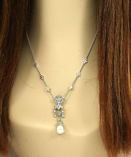 Lavish 18k White Gold Diamonds South Sea Pearl Ladies Dress Cocktail Necklace
