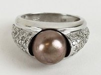 Lds 14k Dia Pave Brown Pearl Rng .54ctw Max054440