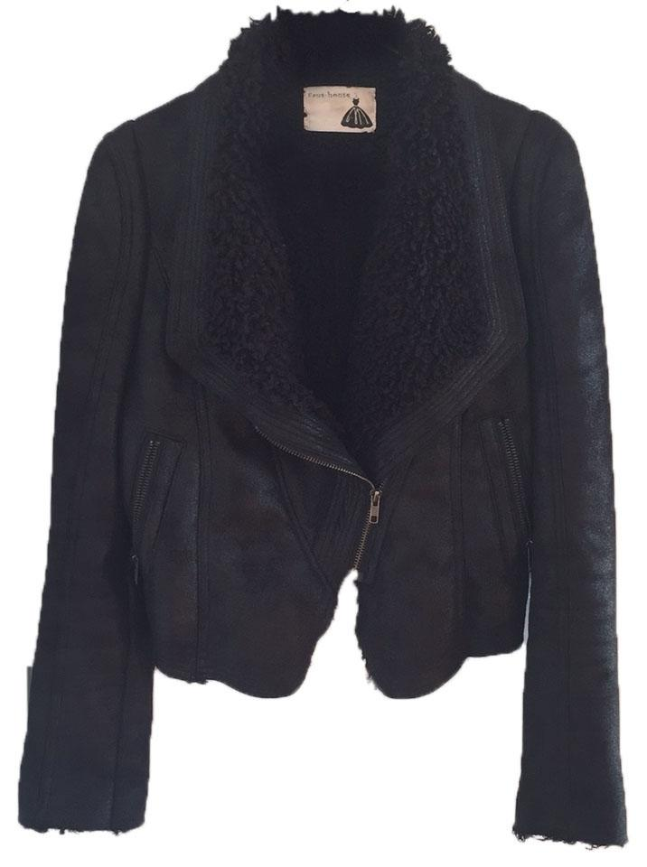 Black Vegan Suede Leather Shearling Jacket
