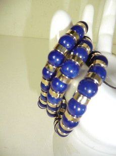 Lee Angel Valerie Two Tone Gold Blue Bead Mix Strand Stretch Bracelet 125
