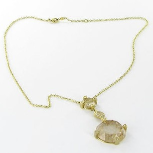 Leslie Greene Necklace Samara 0.14cts Diamond Rudilated Quartz 18k Yg