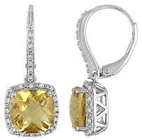 5.988 Ct Tw Diamond And Citrine Leverback Earrings Silver Gh I3