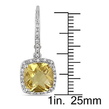 Other 5.988 Ct Tw Diamond And Citrine Leverback Earrings Silver Gh I3