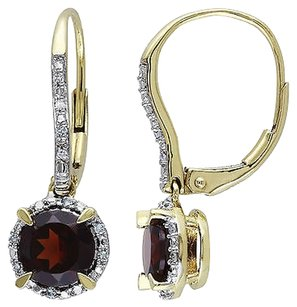 Other 10k Yellow Gold Garnet And 110ct Tdw Diamond Earrings H-i I2-i3
