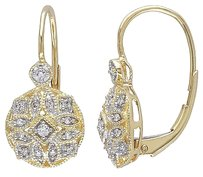 Other 14k Yellow Gold 18 Ct Tdw Diamond Geometric Leverback Earrings G-h I1-i2