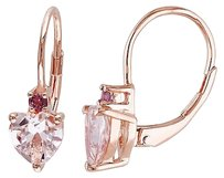 Other 2 13 Ct Tgw Morganite Pink Tourmaline Heart Love Leverback Earrings Pink Silver