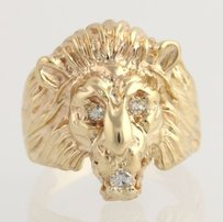 Lion Face Ring - 14k Yellow Gold Natural Diamonds Detailed Cocktail .08ctw