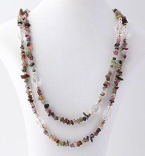 Long Beaded Strand Necklace - Sterling Silver Tourmaline Quartz Pearls 46