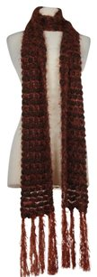 Other Lorenzo Womens One Orange Brown Metallic Knit Scarf Acrylic Blend