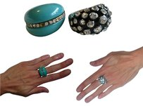 Lot of 2 Rhinestone Encrusted Dome Rings: Turquoise Resin + MbMJ-Inspired Black Enamel
