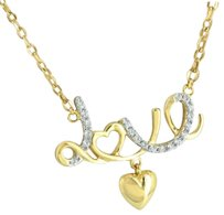 Love Heart Pendant Necklace Gold Finish Sterling Silver Charm Lab Diamond Ladies