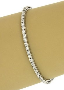 Lovely 14k White Gold Carats Diamonds Ladies Trendy Tennis Bracelet