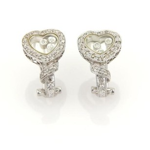 Lovely Diamonds 18k White Gold Moving Diamonds Heart Earrings