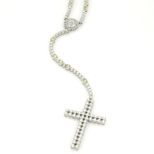 Magnificent 10k Wgold 13.5ct Yellow White Diamond Cross Pendant Long Necklace