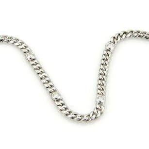 Magnificent 14k White Gold 4ct Diamonds 30 Long Curb Link Chain Necklace Italy