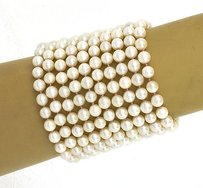 Other Magnificent 14k Yellow Gold 6.2mm Akoya Pearls Mulit-strand 2.5 Wide Bracelet
