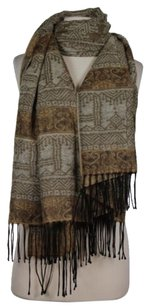 Other Manifattura Tessile Chiti Women One Brown Beige Black Printed Scarf Acrylic