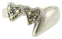 Other Marcasite Double Heart Ring - Sterling Silver Womens