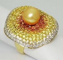 Marvelous Sapphires Diamonds 8.4mm Freshwater Pearl 18k Yellow Gold Ring R153