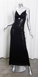 Black Maxi Dress by Other Jean Paul Gaultier Soleil Womens Nylon Mesh Maxi Shift