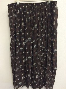 Other Kathie Lee Plus Sheer 26w Floral Print Maxi Skirt Brown
