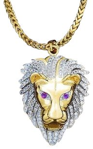 Other Lion Head Pendant Necklace Set 18k Gold Lab Diamond Franco Chain Charm