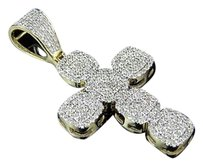 Other Men 10k Yellow Gold 1.5 Square Shape Round Real Diamonds Cross Pendant .85ct