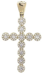 Men And Ladies 14k Yellow Gold Single Row Genuine Diamond Halo Cross 1.6 Ct