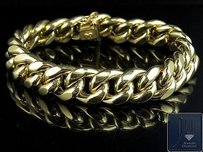 Mens 10k Semi Solid Yellow Gold 15mm Miami Cuban Link Bracelet Inches