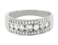 Other Mens 10k White Gold Channel Genuine Round Diamond Wedding Ring Band 1.3 Ct